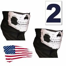 2  Skull Face Mask Neck Warmer Harley Motorcycle chopper Scarf  Bandana Hunting