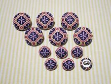 12 Oriental Purple Flower Fabric Covered Buttons
