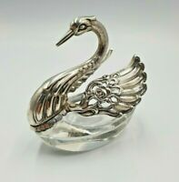 Vintage Solid Silver And Cut Glass Swan Dish Fully Hallmarked,