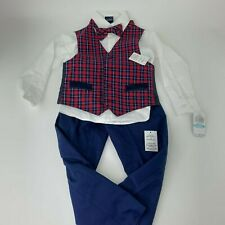 Nautica Blue Tartan Vest, Shirt & Bow Tie, & Pants (Little Boys) Size 5