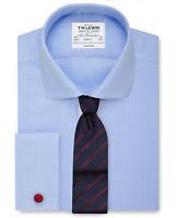 T.M.Lewin Mens Non-Iron Blue Dogtooth Cutaway Collar Slim Fit Shirt 20