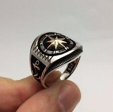 Turkish Jewelry Compass Rose Sailor Anchor Nice 925K Sterling Silver Men's Ring