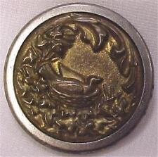 Antique Picture Button Bird on Nest Brass Victorian Large #4