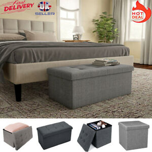 Folding Ottoman Storage Box Pouffe Seat Stool Home Office Chair Foot Rest Bench