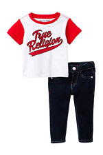 NEW TRUE RELIGION BABY BOYS 2PC BASEBALL TEE T-SHIRT TOP JEANS SET 12M