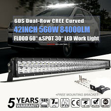 560W 42inch CREE LED WORK LIGHT BAR Curved COMBO Offroad Truck SUV For Jeep Ford