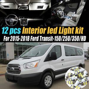 12Pc Car Interior LED White Light Bulb Kit for 2015-18 Ford Transit-150/250/350