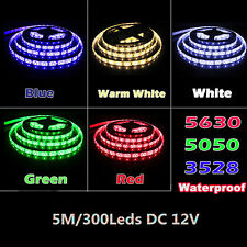 5M SMD RGB 5050/3528/5630 60LED/M 300LEDs Cold/Warm White Strip Light DC12V