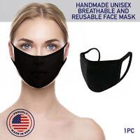 Face Mask Black Reusable Cover Cotton Double Layer Washable Protection Unisex