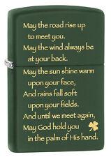 Zippo Windproof Irish Blessing Lighter, Green Matte, # 28479, New In Box