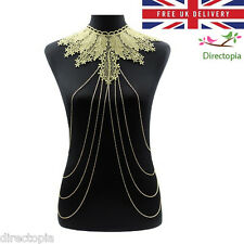 Stunning Gold Body Lace Design Collar Harness Bikini Clubbing Chain Necklace