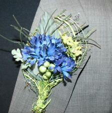 Rustik Blue Flower Boutonniere, Wedding Accessories, Prom