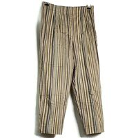 Briggs New York Womens Capri Cropped Pants Sz 10 Beige Striped Stretch Side Zip