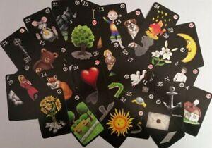 """Lustiges Lenormand"" (schwarz), Lenormand, Orakelkarten, Spielkarten, Kartendeck"