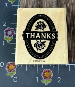 Stampin Up! Thanks Flower Rubber Stamp Oval Circle Rose Wood #F155