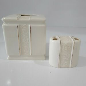 Croscill Sorrento Tissue Cover & Toothbrush Holder Ivory Scrolled / Gold Accent