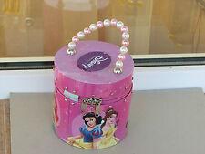 Disney princess bag tin box pink zip Ariel Cinderella Jasmine Snow White Belle