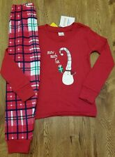 NEW GYMBOREE GIRLS RED LONG SLEEVE PAJAMAS GYMMIES SIZE 4 SNOWMAN SNOW MUCH FUN