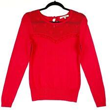 Review Women's Size 10 Red Long Sleeve Ruffle Net Bodice Sweater Jumper Cardigan