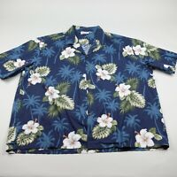 Pacific Legend Hawaiian Button Up Shirt Mens 4XL Blue Floral Aloha Cotton VTG