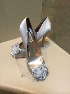 Badgley Mischka KODY heels Open high heel pump satin shoes Silver Gray 7,5 US