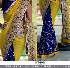 BEAUTIFUL BOLLYWOOD  DESIGNER PARTY WEAR BLUE & YELLOW  COLOR SAREE