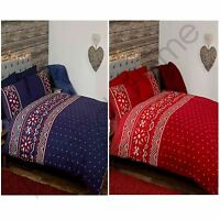 NORDIC CHRISTMAS DUVET COVER SETS - BLUE AND RED - DOUBLE AND KING AVAILABLE NEW