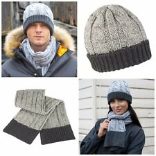 c592c69c1b1 Chunky Knit Hat and Scarf Set Warm Soft Winter Grey Charcoal Mens Womens  Ladies