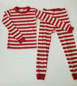 Hanna Andersson Red White Stripe Christmas Winter Pajama Set Sz 120 US Kids 6-7