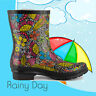 SheSole Women's Rain Wellington Boots Gumboots Waterproof Rubber Wellies Floral