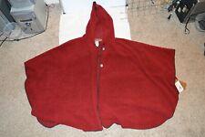 Bear Ridge W S/M/L Red Native American Design Hooded Wool Blend Poncho Made USA