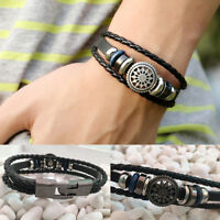 Fashion Leather Braided Cuff Punk Wrap Bracelet Wristband Clasp Women Men Bangle