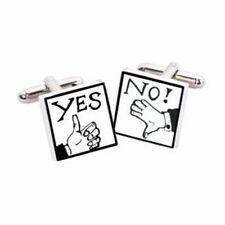 Yes/No Cufflinks by Sonia Spencer, gift boxed. Hand painted, RRP £20!