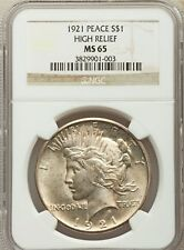 1921 US Peace Silver Dollar $1 - NGC MS65 High Relief