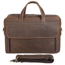 """Men Vintage Real Leather Briefcase Messenger Bag 17"""" Laptop Case Shoulder Bag"""