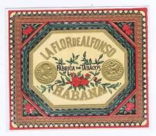 La Flor De Alfonso, original outer cigar box label, coin