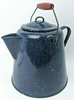 Antique Graniteware Enamel Cobalt Blue Large Cowboy Coffee Pot Kettle Campfire