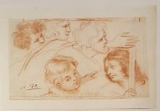 Superb 17th.Century Old Master Red Chalk Drawing Italian Rome Saints 1600s