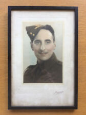 Vintage Framed Photo Picture of a Soldier, 1930 1940s, World War II Era Military