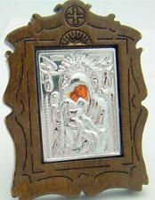 MRT Mini Our Lady Vladimir Virgin Mary Wood & Metal Russian Desk Icon 2 1/2""