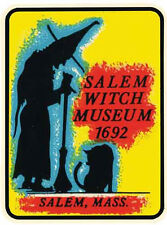 Salem  MA  Massachusetts Witch  Vintage 1950's Style  Travel Decal Sticker Label