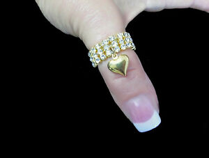 3 Row Austrian Crystal Rhinestone Puffed Heart Stretch Ring Gold gep Silver gep