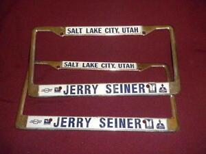Salt Lake Chevrolet license plate frames set pair Utah tags embossed Isuzu tags