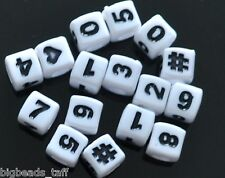 100pcs Cube White Number 0-9 Acrylic Beads 7mm