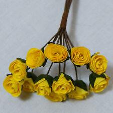 Confezione da 10 aperte le rose gialle per schede e Artigianato