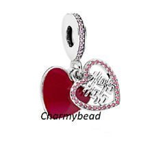 New✨Genuine Pandora Silver/ Enamel/CZ✨ Double Happiness Heart ✨Dangle796590EN151