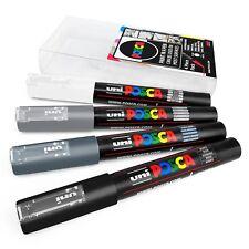 Uni Posca - pc-1m Arte Pintura Rotuladores - Pack de 4 - EN CARTERA - Gris Tonos