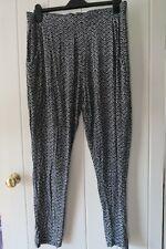 Black white herringbone summer trousers size 18 by F&F