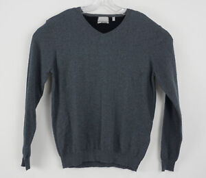 Hickey Freeman Men's Large Gray Cotton Cashmere Light Weight Knit V-Neck Sweater