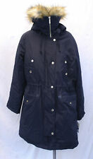 Michael Kors Women's Faux Fur Trim Water Resistant Snorkel Coat HD3 Navy Size XL